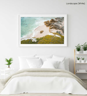 Rock in middle of a sandy beach in arniston south africa in a white fine art frame