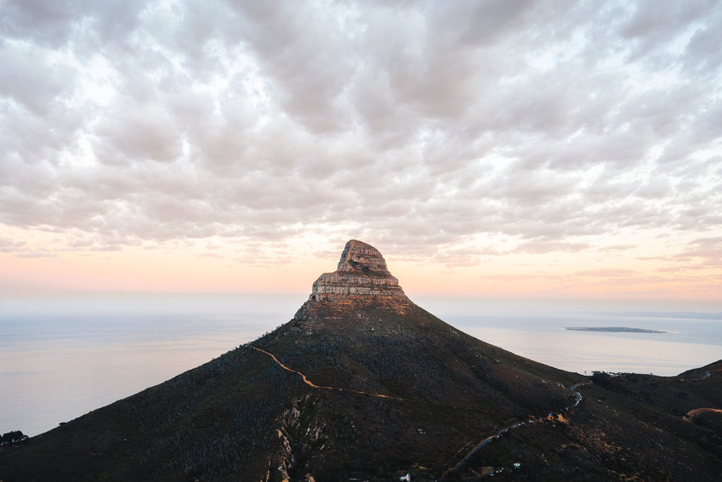Lions head mountain with clouds during sunrise in cape town