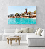 Two boys jumping in sea point pools during summer in cape town in an acrylic/perspex frame