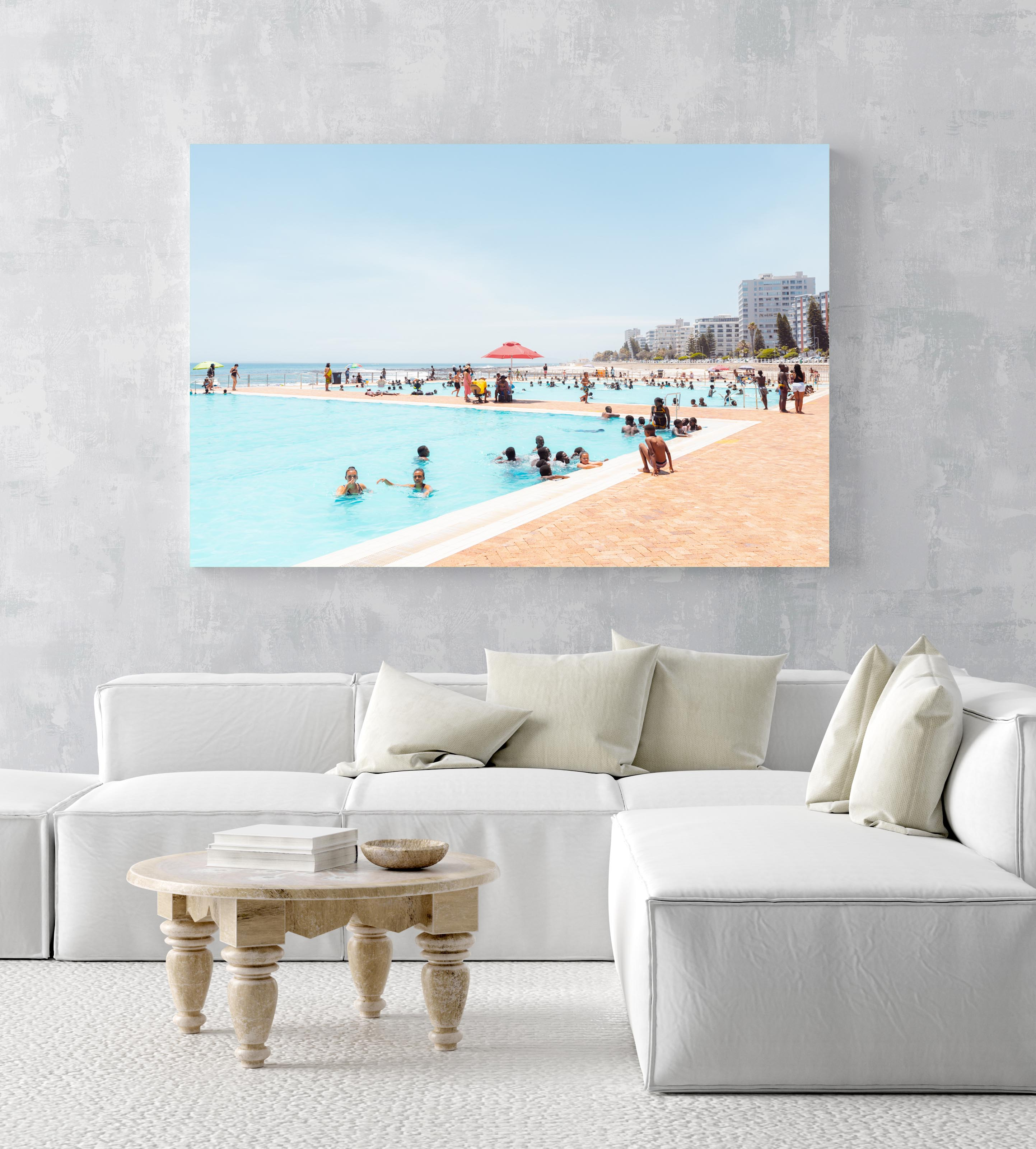 Lots of people in sea point pools on a hot day in cape town in an acrylic/perspex frame