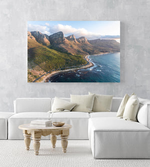 Scenic road along the twelve apostles mountains in cape town during sunset in an acrylic/perspex frame