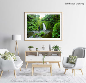 Green jungle and waterfall flowing in Mount Kenya in a natural fine art frame