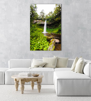 Big waterfall and green vegetation in Mount Kenya in an acrylic/perspex frame