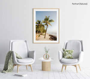 Palm trees on malindi beach in kenya in a natural fine art frame