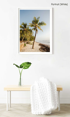 Palm trees on malindi beach in kenya in a white fine art frame