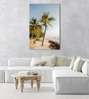 Palm trees on malindi beach in kenya in an acrylic/perspex frame