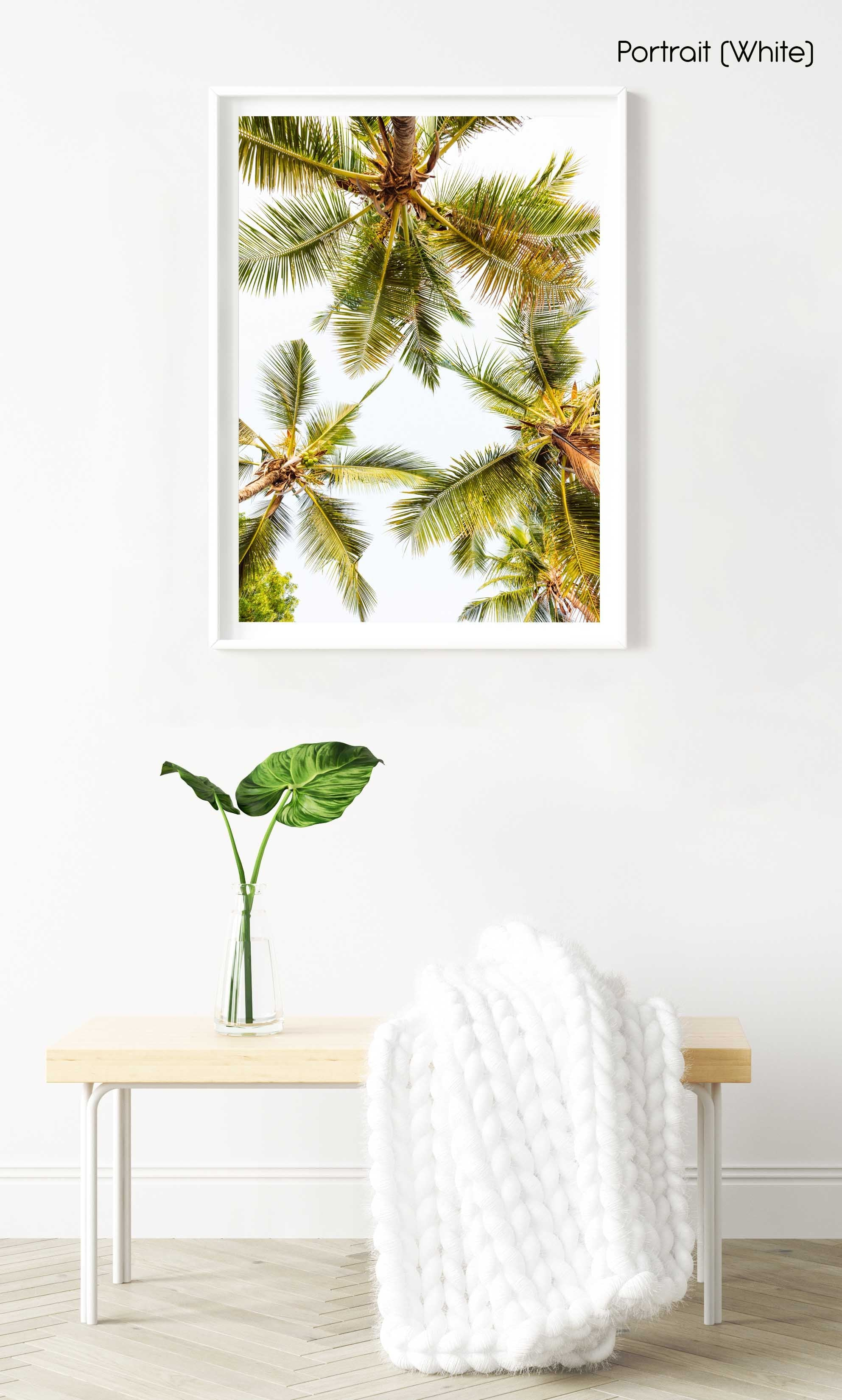 Green palm trees pattern and white sky in Kenya in a white fine art frame