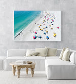 Aerial colorful umbrellas and people in sun on Camps Bay beach Cape Town in an acrylic/perspex frame