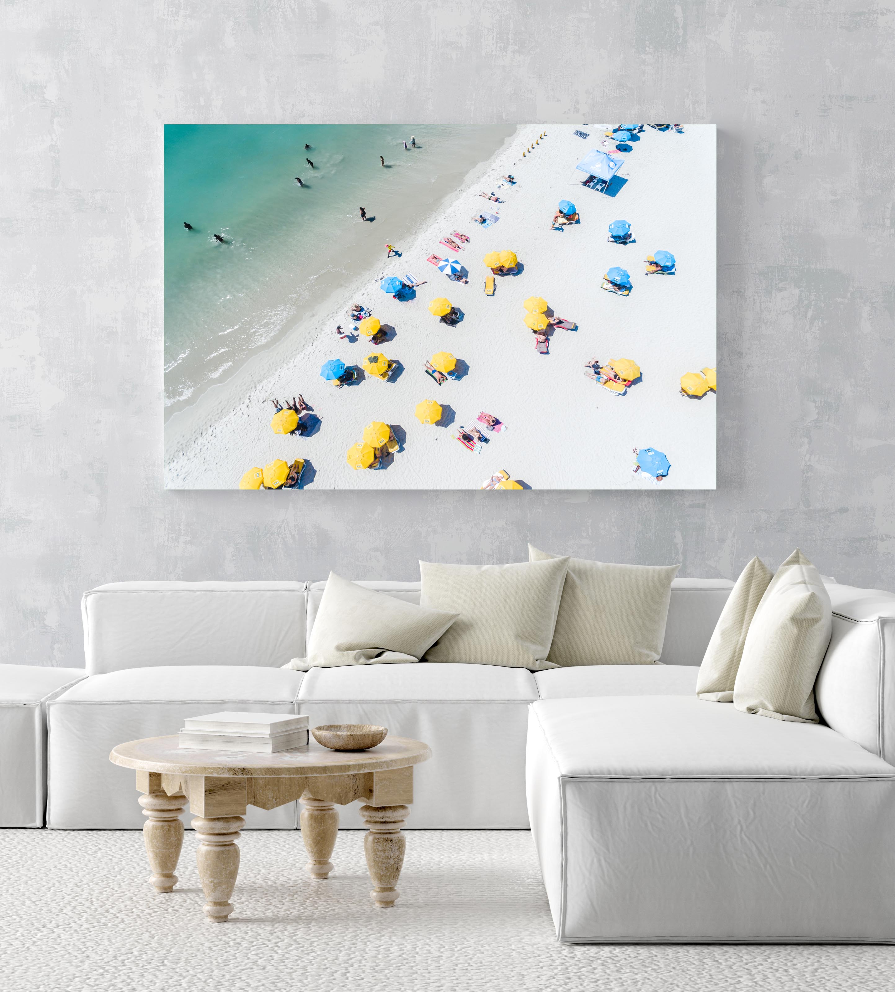 Aerial of green sea and colorful umbrellas from above on Camps Bay beach in an acrylic/perspex frame