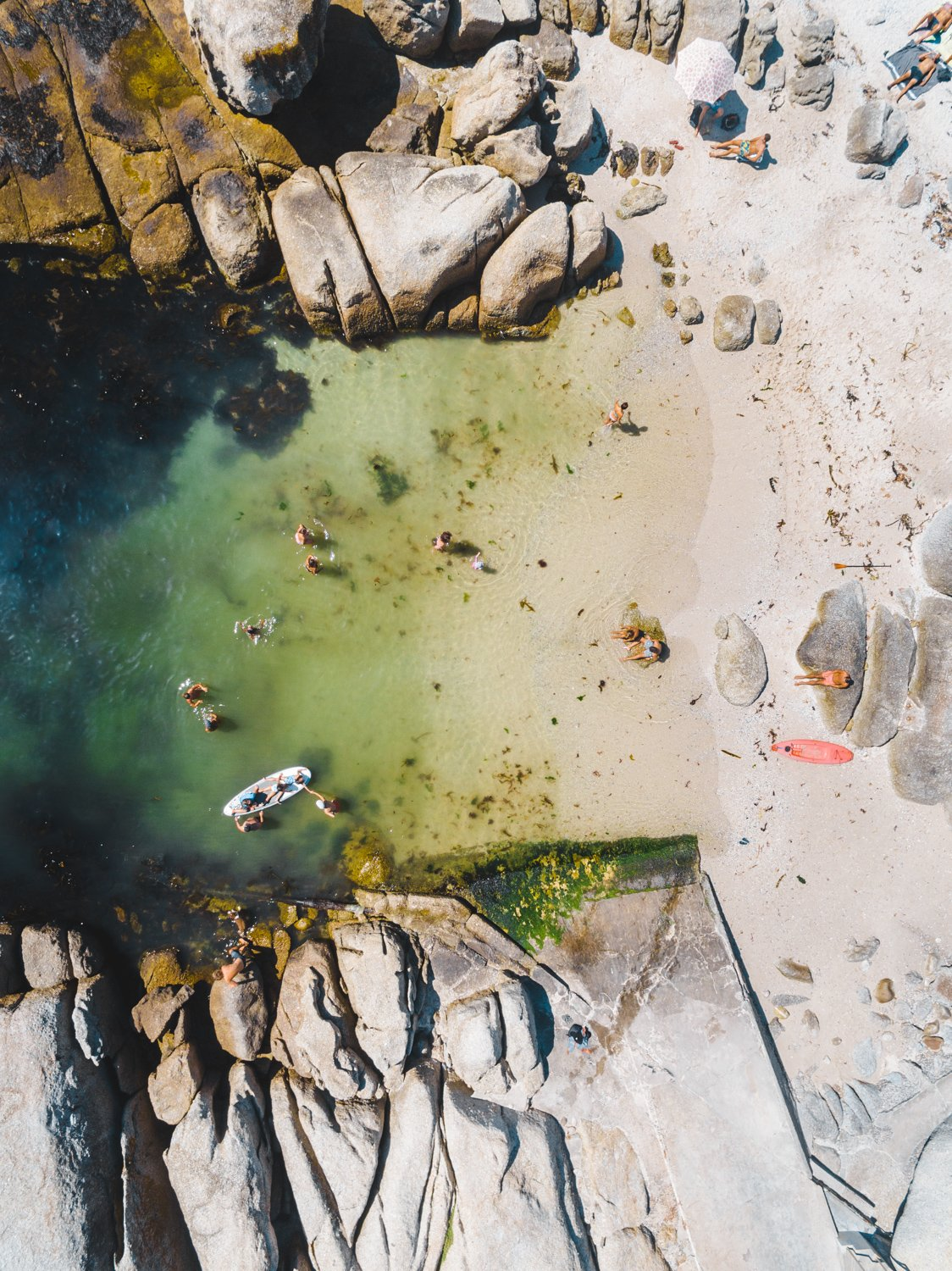 Aerial swimmers at Beta Beach Bakoven in summer