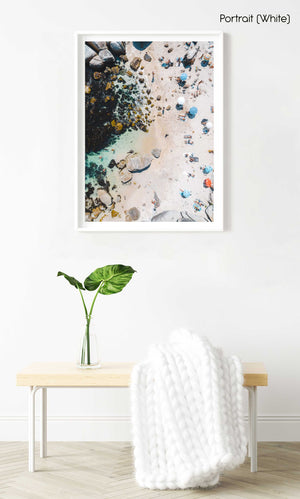 Beach goers and umbrellas from above on Beta Beach Bakoven in a white fine art frame