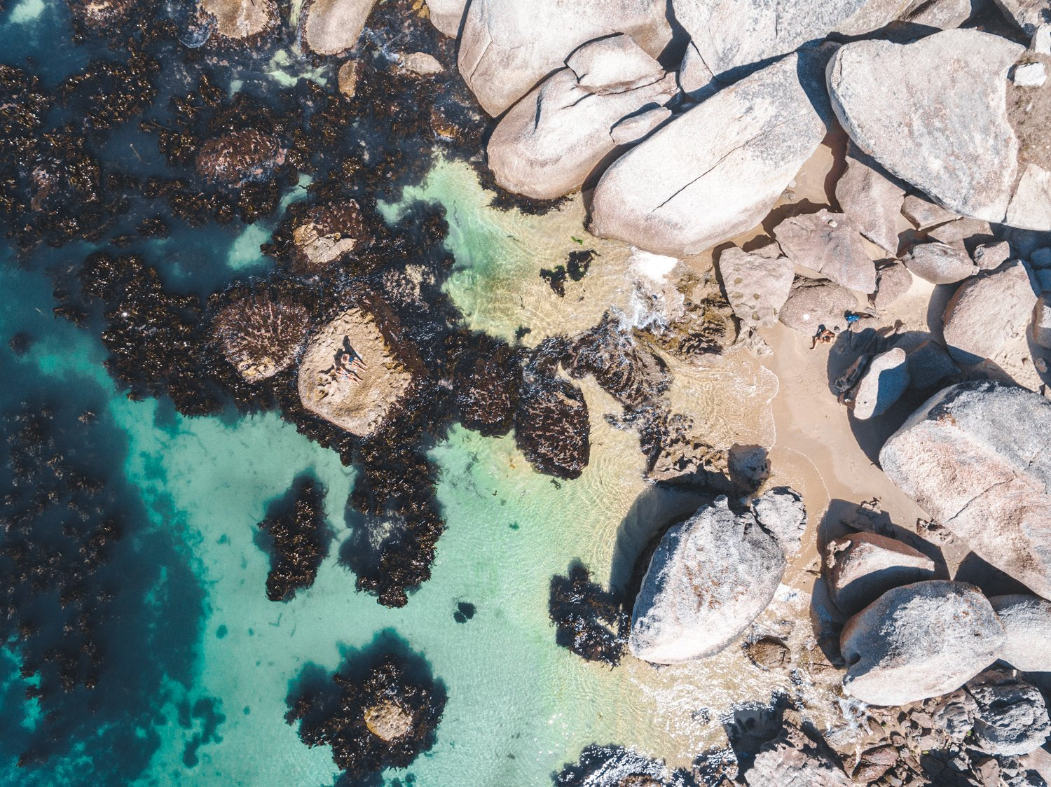 Boulders and people from above at green sea in Oudekraal Cape Town