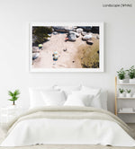 Umbrellas and people at Cosy Bay beach in Oudekraal in a white fine art frame