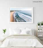 Aerial of Manly Beach in Sydney in a white fine art frame