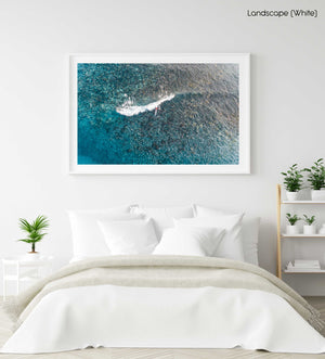 Aerial of kayak surfing on a shallow wave at Bower in Manly Sydney in a white fine art frame