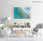 Surfers from above in blue turquoise sea at Manly beach sydney in a natural fine art frame