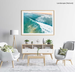 Wave whitewash from behind at Manly Beach Sydney in a natural fine art frame