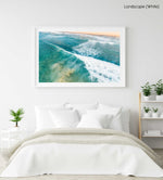 Wave whitewash from behind at Manly Beach Sydney in a white fine art frame