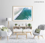 Dark green and blue whitewash rolling through Manly Beach surf in a natural fine art frame