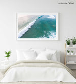 Dark green and blue whitewash rolling through Manly Beach surf in a white fine art frame