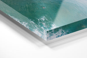 Dark green and blue whitewash rolling through Manly Beach surf in an acrylic/perspex frame