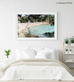 Crowded Shelly Beach swimmers in turquoise water on summers day in a white fine art frame