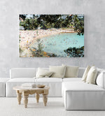 Crowded Shelly Beach swimmers in turquoise water on summers day in an acrylic/perspex frame