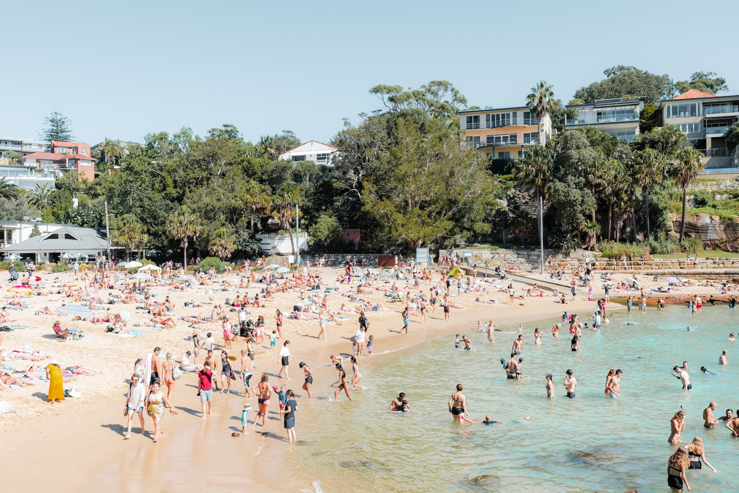 Shelly beach goers on a hot summers day in sydney