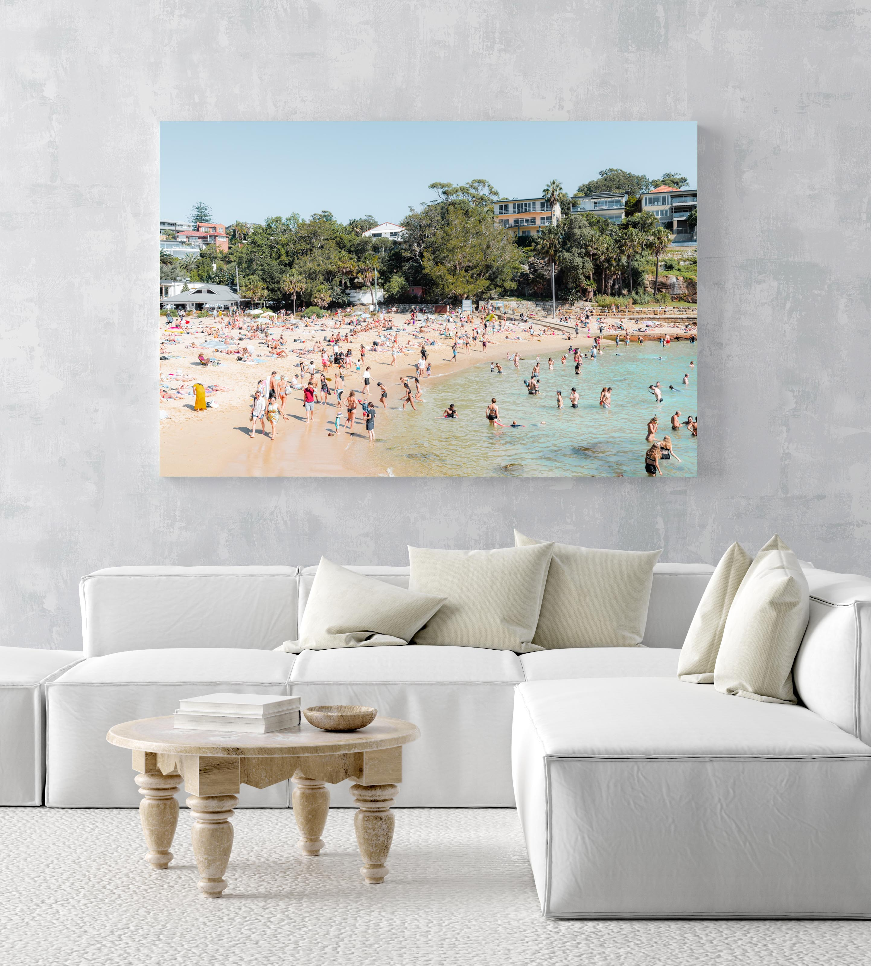 Shelly beach goers on a hot summers day in sydney in an acrylic/perspex frame