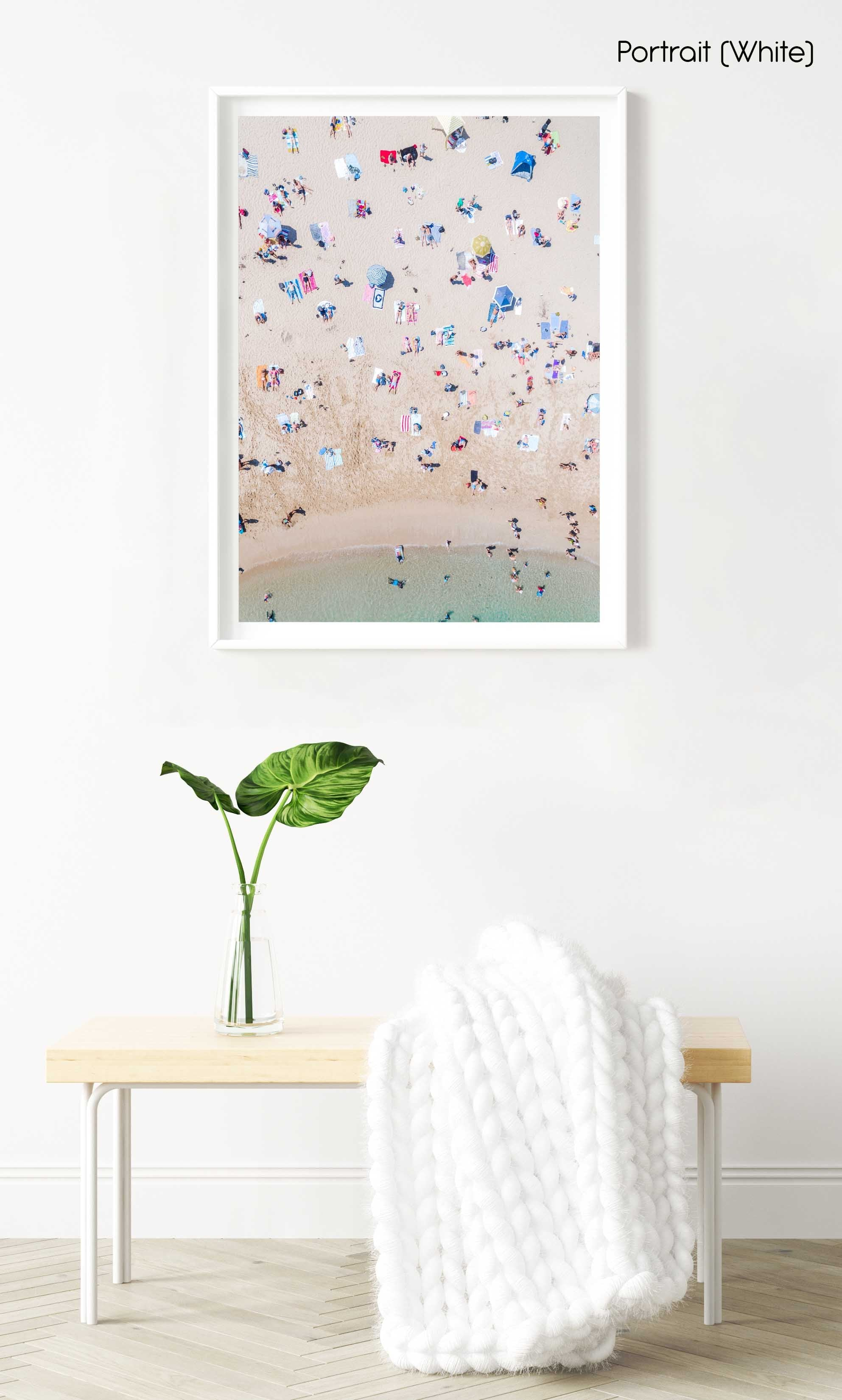 Aerial topdown of colorful people tanning by the sea at the beach in Sydney in a white fine art frame