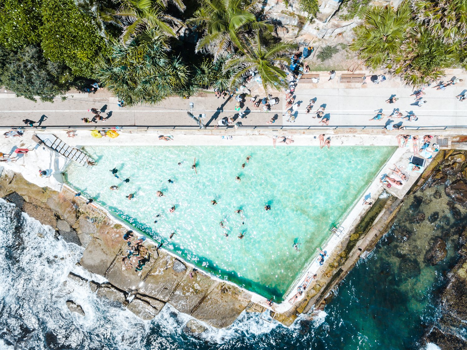 People swimming at Bower pool at Shelly Beach in Manly from above