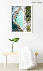 People swimming at Bower pool at Shelly Beach in Manly from above in a white fine art frame