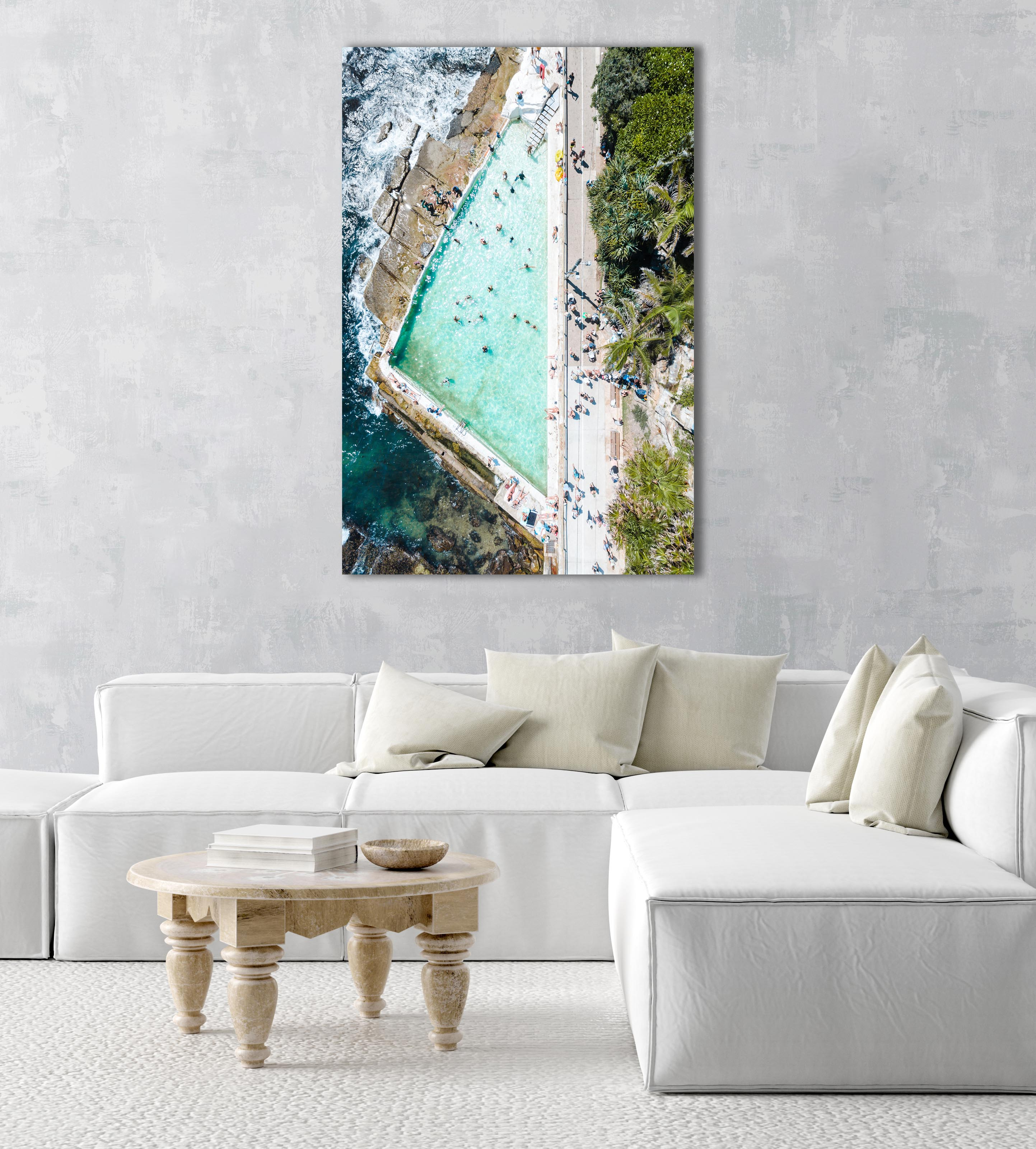 People swimming at Bower pool at Shelly Beach in Manly from above in a natural fine art frame