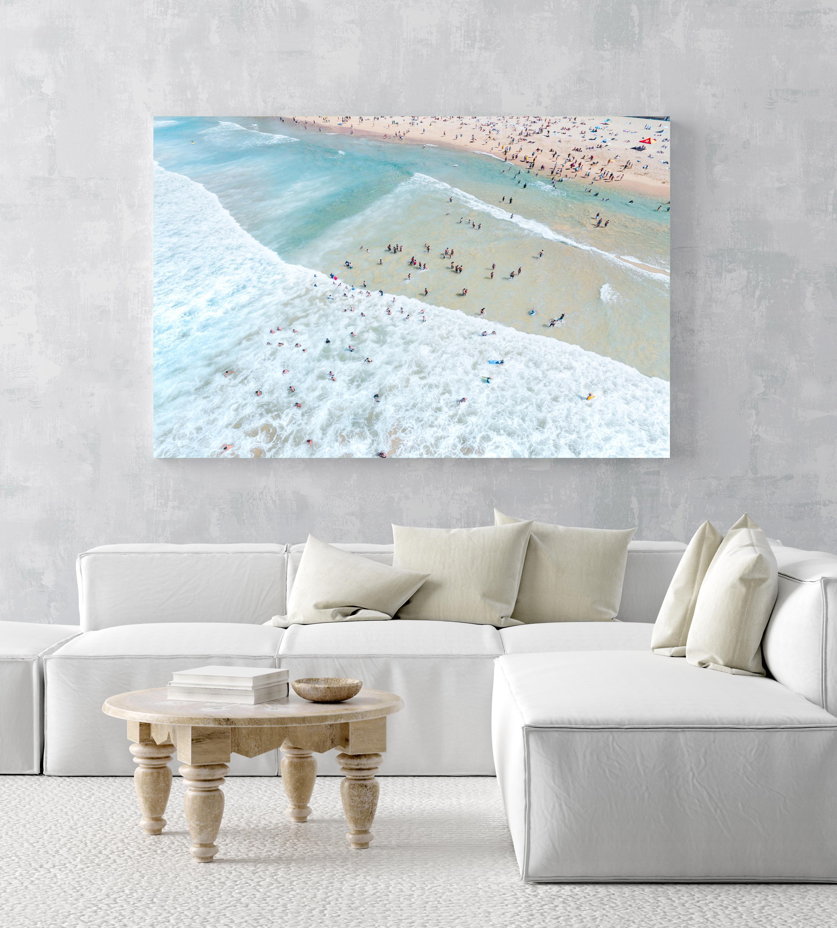 Crowd of swimmers in the waves at Manly Beach in Sydney in an acrylic/perspex frame