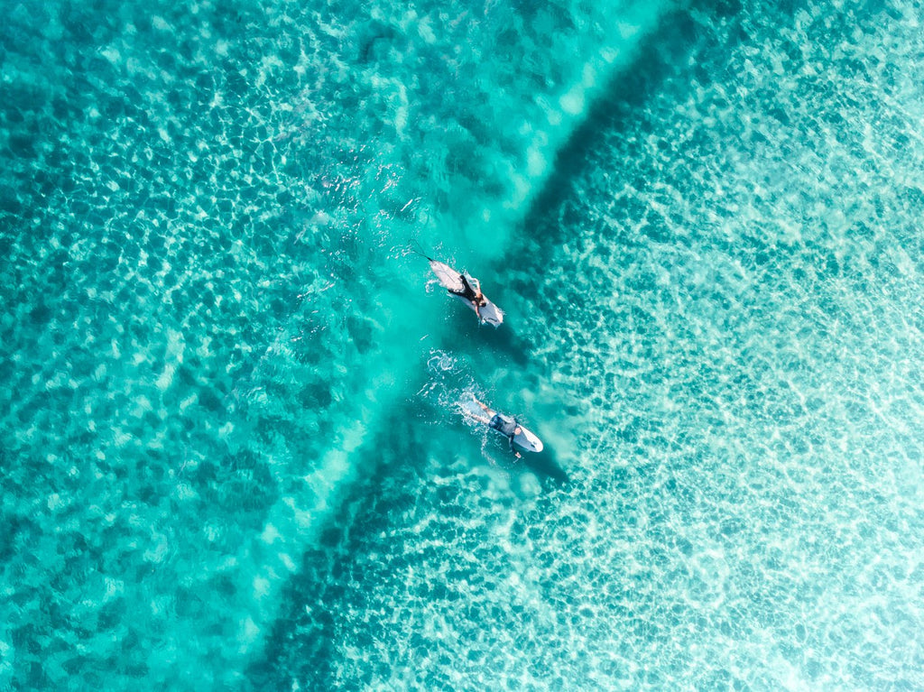 Two surfers paddling on one blue wave from aerial view