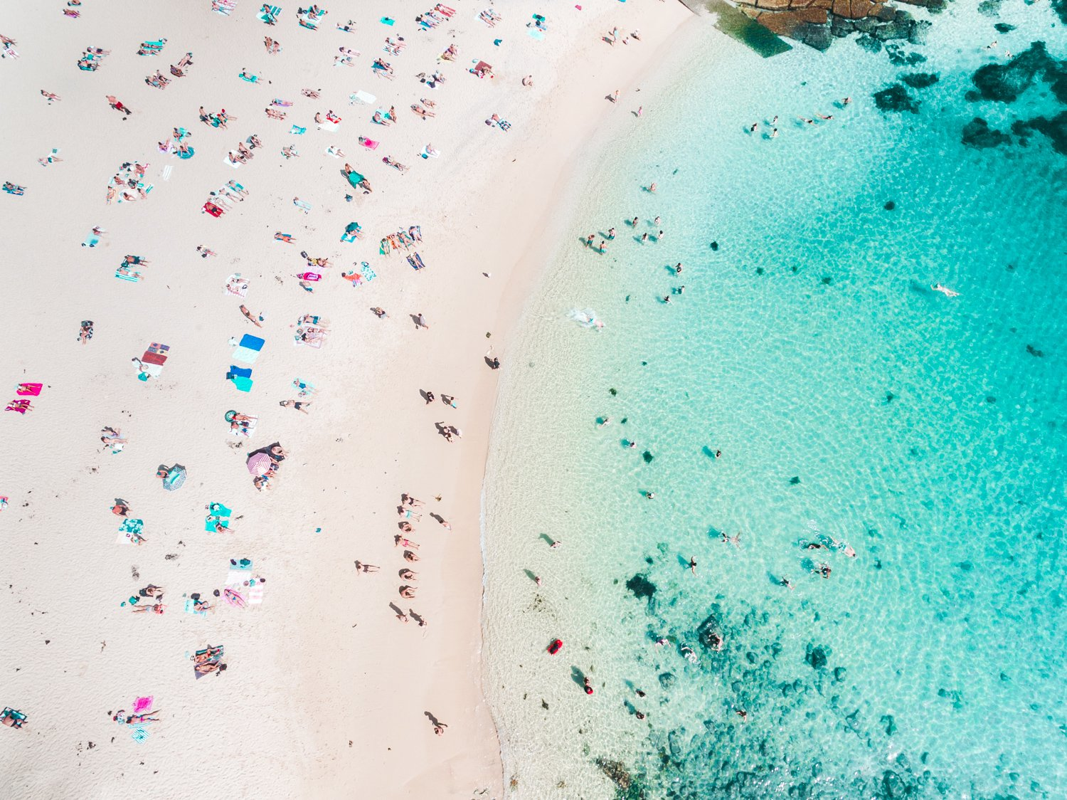Summers day at Shelly Beach with people tanning and swimming in blue water in Sydney