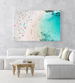 Summers day at Shelly Beach with people tanning and swimming in blue water in Sydney in an acrylic/perspex frame