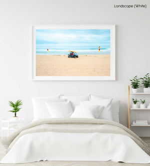 Lifesavers in a blue beach buggy with yellow board on roof in Monavale Beach Sydney in a white fine art frame