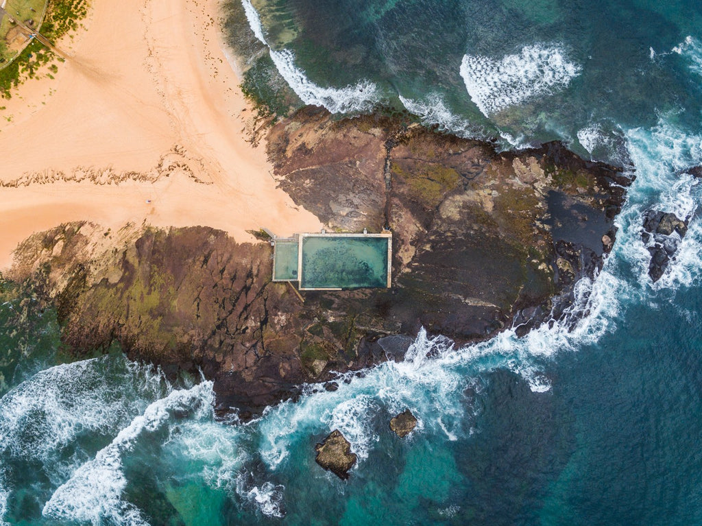 Aerial topdown view of Monavale pool in Sydney
