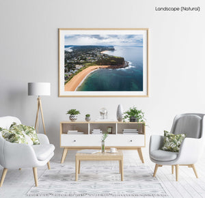 Aerial of Northern beaches cliffs in Sydney in a natural fine art frame