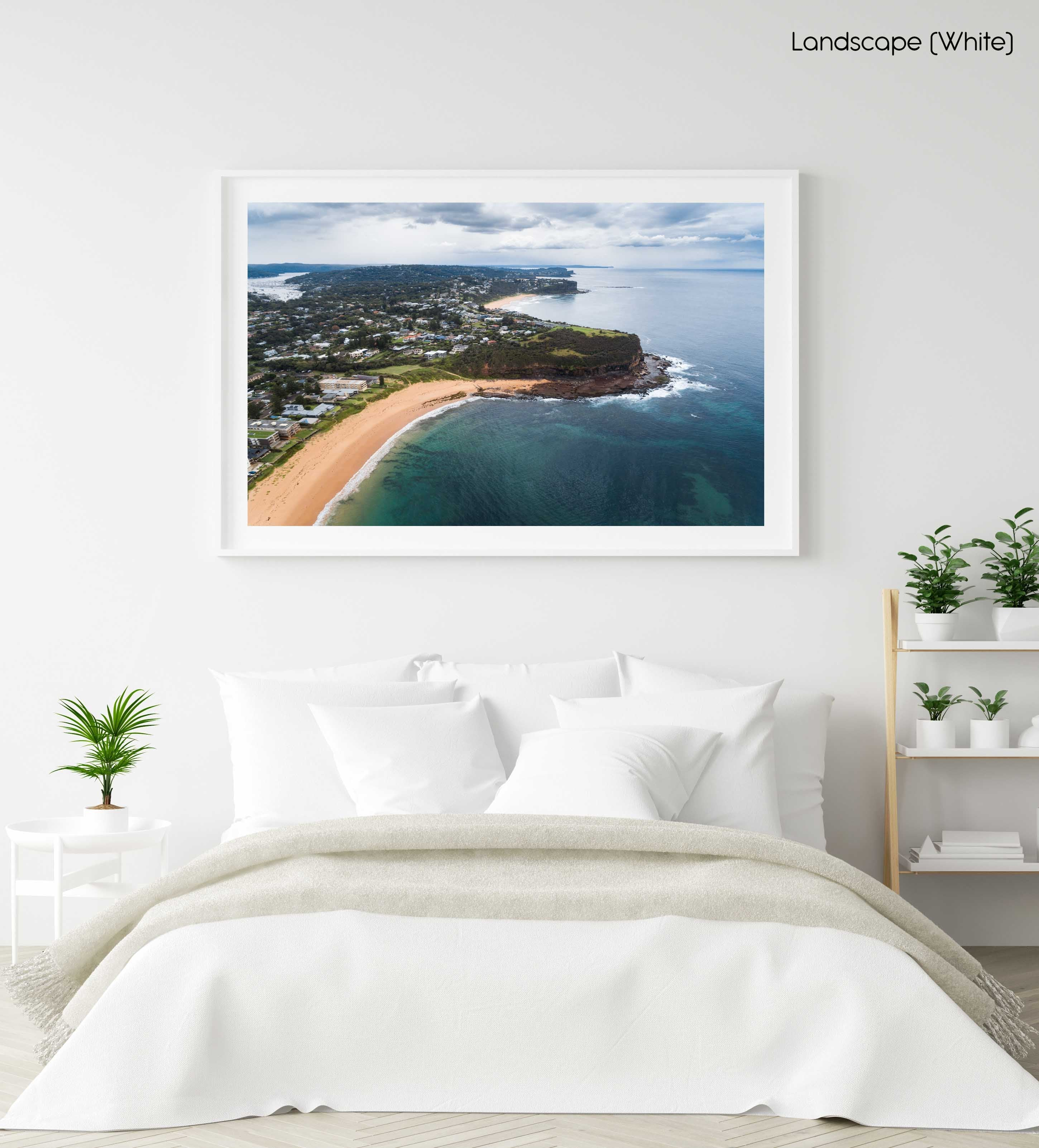 Aerial of Northern beaches cliffs in Sydney in a white fine art frame