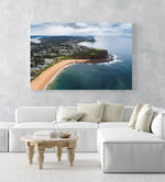 Aerial of Northern beaches cliffs in Sydney in an acrylic/perspex frame