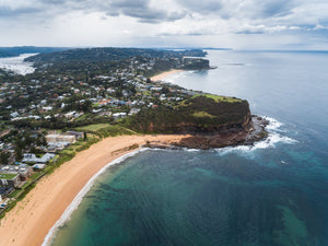 Aerial of Northern beaches cliffs in Sydney