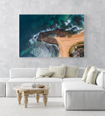 Aerial topdown of Monavale tidal pool in NSW Sydney in a white fine art frame