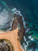 Aerial topdown of Monavale tidal pool in NSW Sydney