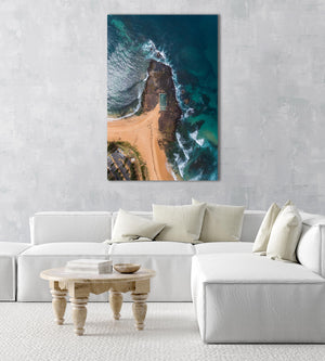 Aerial topdown of Monavale tidal pool in NSW Sydney in a natural fine art frame