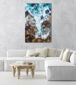 Water crashing from sea into rocks along Sydney coast in a natural fine art frame