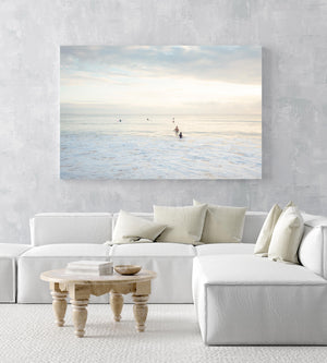 Neutral surfers lined up in water for sunrise surf on Manly Beach Sydney in an acrylic/perspex frame