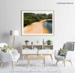 Girl walking on a tropical looking beach in Sydney from above in a natural fine art frame