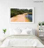 Girl walking on a tropical looking beach in Sydney from above in a white fine art frame